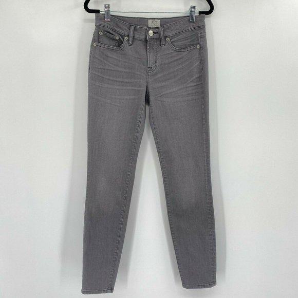 """J.Crew 8"""" Toothpick Skinny Stretch Denim Jeans Gray Charcoal Wash Womens Size 26"""